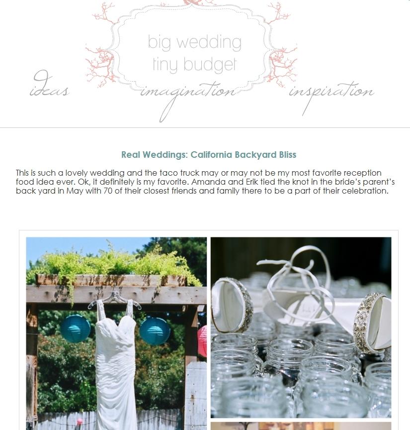 Featured ~ Big Wedding, Tiny Budget